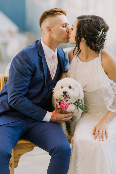 Bride and groom kiss while holding their puppy on their wedding day