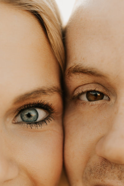 Close up shot of a couple's eyes during their engagement session