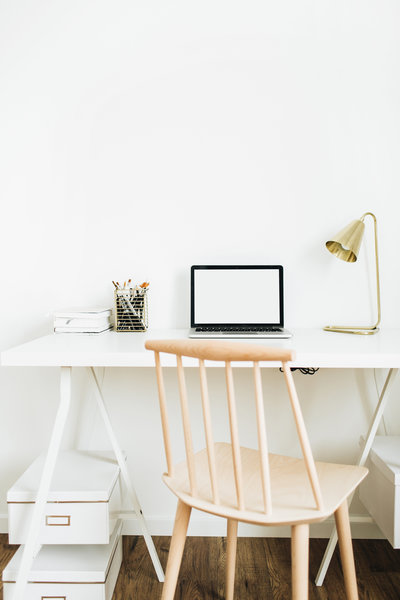 laptop sitting on desk with gold lamp and plant