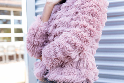 Pink Chenille Jacket on Model
