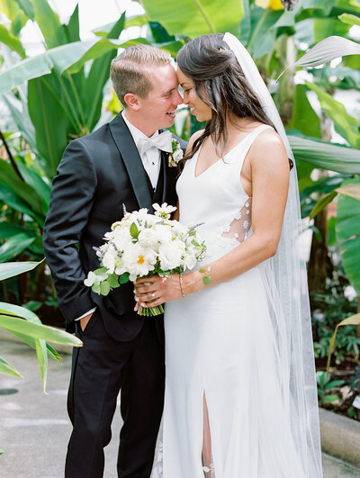 Bride & Groom at Rawlings Conservatory in Baltimore, Maryland