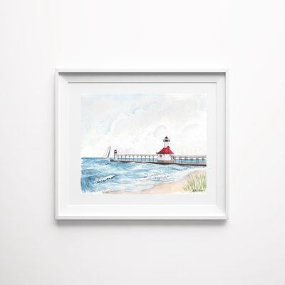 st joe lighthouse watercolor art print mockup