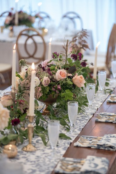 Romantic garden inspired tablescape for home wedding in Hamden, CT
