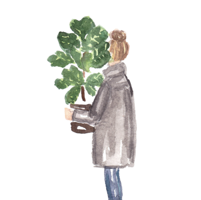 girl holding fiddle leaf fig watercolor fashion illustration