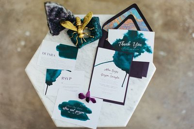 Ink blot purple and teal wedding invitations