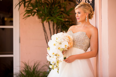 Beautiful bride at La Valencia in La Jolla.