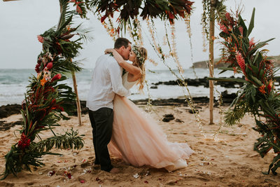 Kauai Hawaii Beach Elopement Couple Kissing