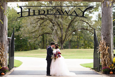 Couple at the Hideaway Venue  at  Mississippi Wedding