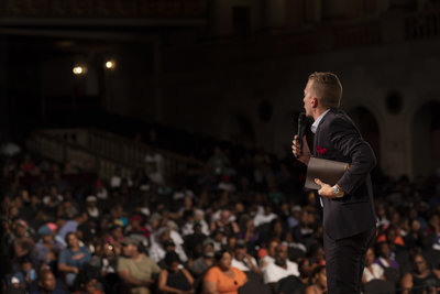Ev. Jonathan Shuttlesworth preaching the gospel at Newark Symphony Hall