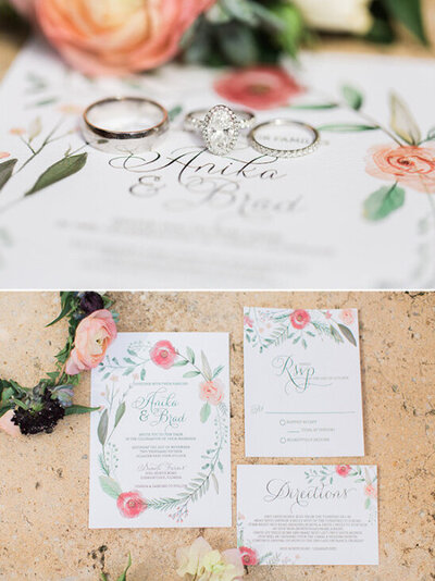 wedding invitations for a chic garden farm wedding