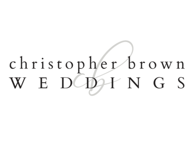 Text Logo reading Christopher Brown Weddings, with monogram CB in script