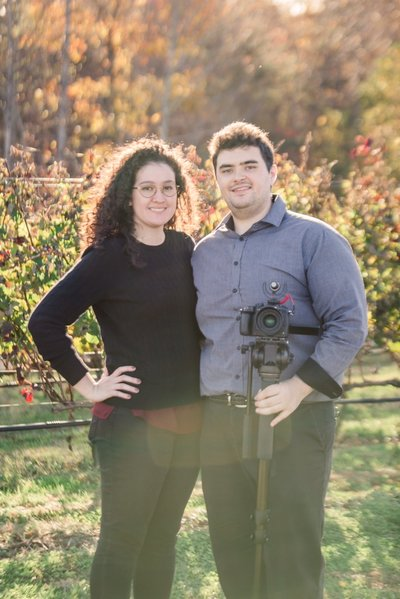two wedding videographers at a vineyard wedding in Georgia