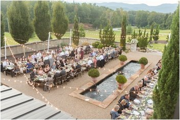 wide photo of Hotel Domestique courtyard wedding reception