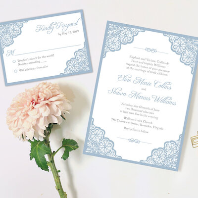 light blue wedding invitation set with elegant lace