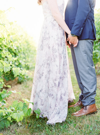 Sunrise engagement session in the vineyard Photographed by Amy Mulder Photography