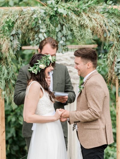 Couple stands at altar and gets married