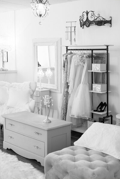 beautiful studio with outfits on racks