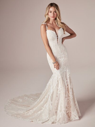 Lace Mermaid Wedding Dress. This lace mermaid wedding dress makes us feel like spring has arrived. So whatever your nuptials season, please think of crocuses and lilacs in the bright May air.