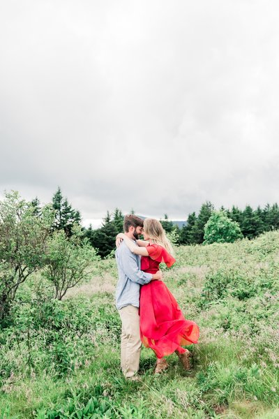 engagement session at black balsam knob in asheville