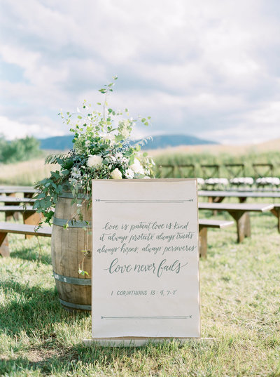 Ceremony Sign & Florals at Montana Ranch Wedding