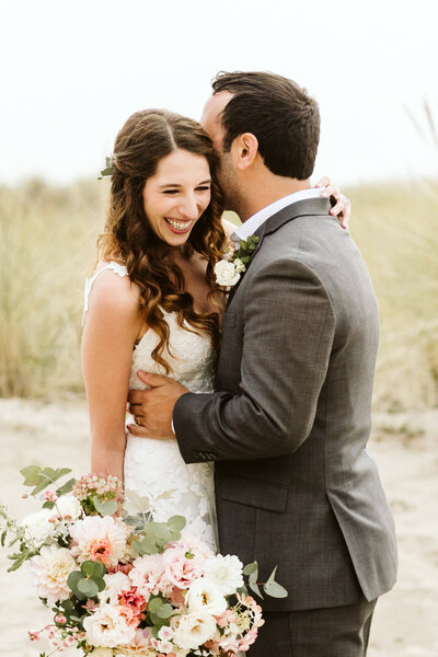 happy bride and groom at an Oregon coast elopement
