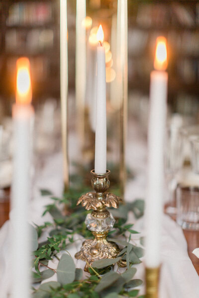 wedding candle and glassware
