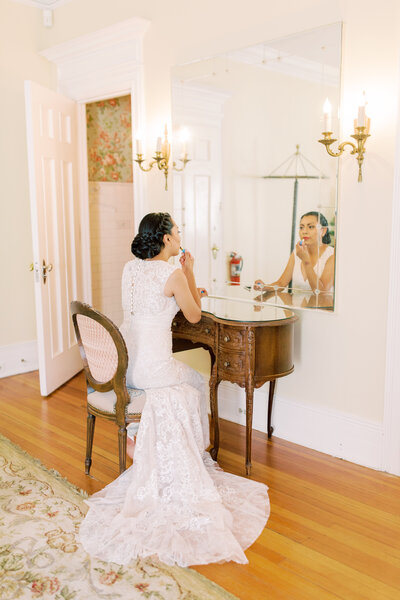 Wedding photography of bride getting ready at Grant Humphries Mansion in Denver, Colorado