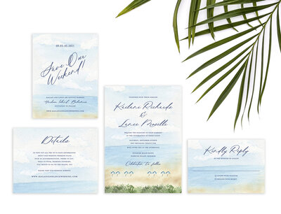 Tropical watercolor wedding invitation suite with watercolor beach scene