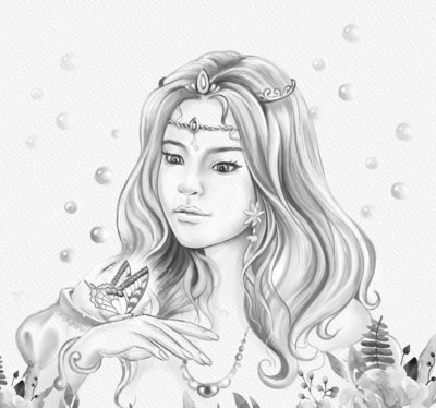 Online coloring page | woodland girl with butterfly