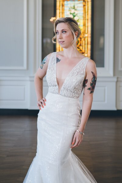 Photo link to more details about the Faven sequin mermaid wedding dress