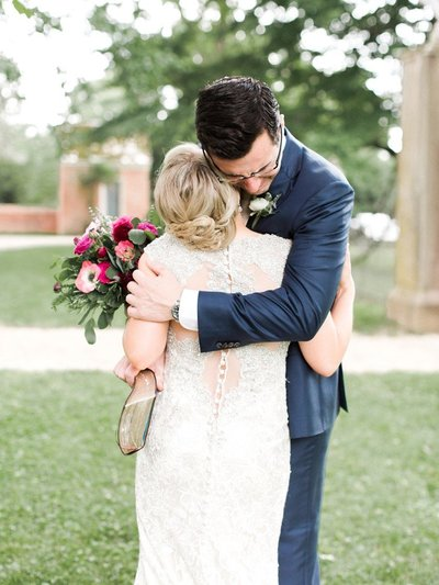 Bride and groom embrace in  a Washington DC wedding photo