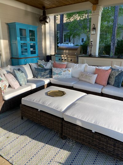 Patio with cushioned furniture