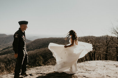 military couple on a mountain