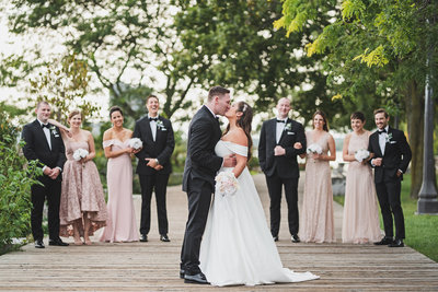 Couple and Bridal party on Toronto Lakeshore