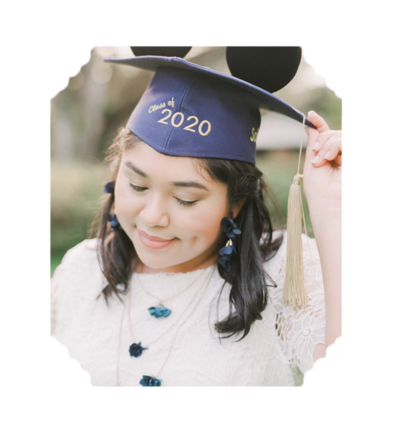 High School Senior in Mickey Mouse Graduation Cap