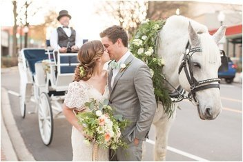 horse and carriage wedding at mary's at falls cottage