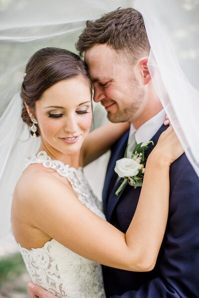 groom nuzzling bride's temple by Knoxville Wedding Photographer, Amanda May Photos