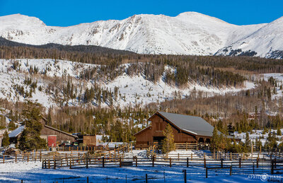 Winter wedding venue with mountain backdrop Devil's Thumb Ranch in Tabernash, Colorado