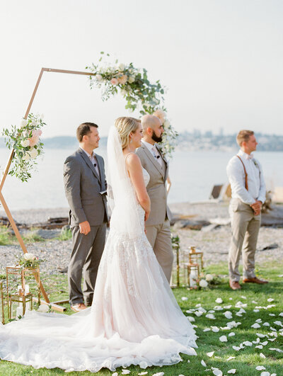 Square wedding care with flowers and greenery
