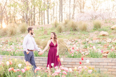 A couple at the State Botanical Garden of Georgia in Athens for engagement portrait session by Jennifer Marie Studios, best Georgia wedding photographer.