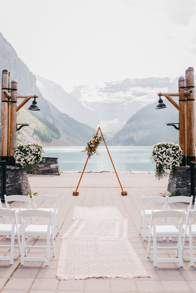 Lake Louise wedding ceremony by Moments By Madeleine