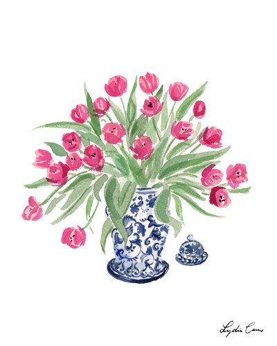 blue and white chinoiserie ginger jar with pink tulips watercolor