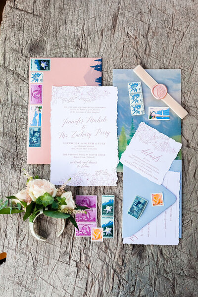 floral and lace wedding invitation with mountainscape for colorado wedding