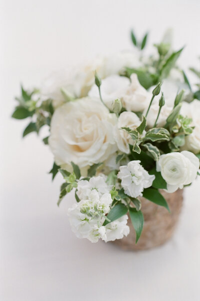 Close up of white flower bouquet