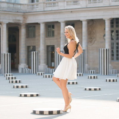 Paris photographer Karissa Van Tassel captures a young woman in the Palais Royal