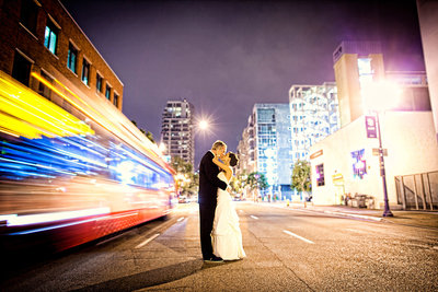 Incredible urban wedding photo of  a The Ultimate Skybox couple in downtown San Diego