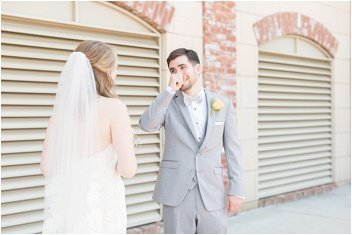 wedding first look at the Old Cigar Warehouse