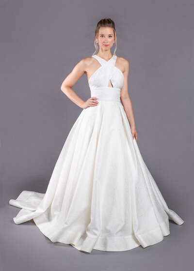 Photo link to more details about the Joan modern ballgown wedding dress with pockets