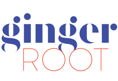 GINGER ROOT PRIMARY LOGO COBALT RED