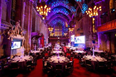 Event set up in a gothic style building